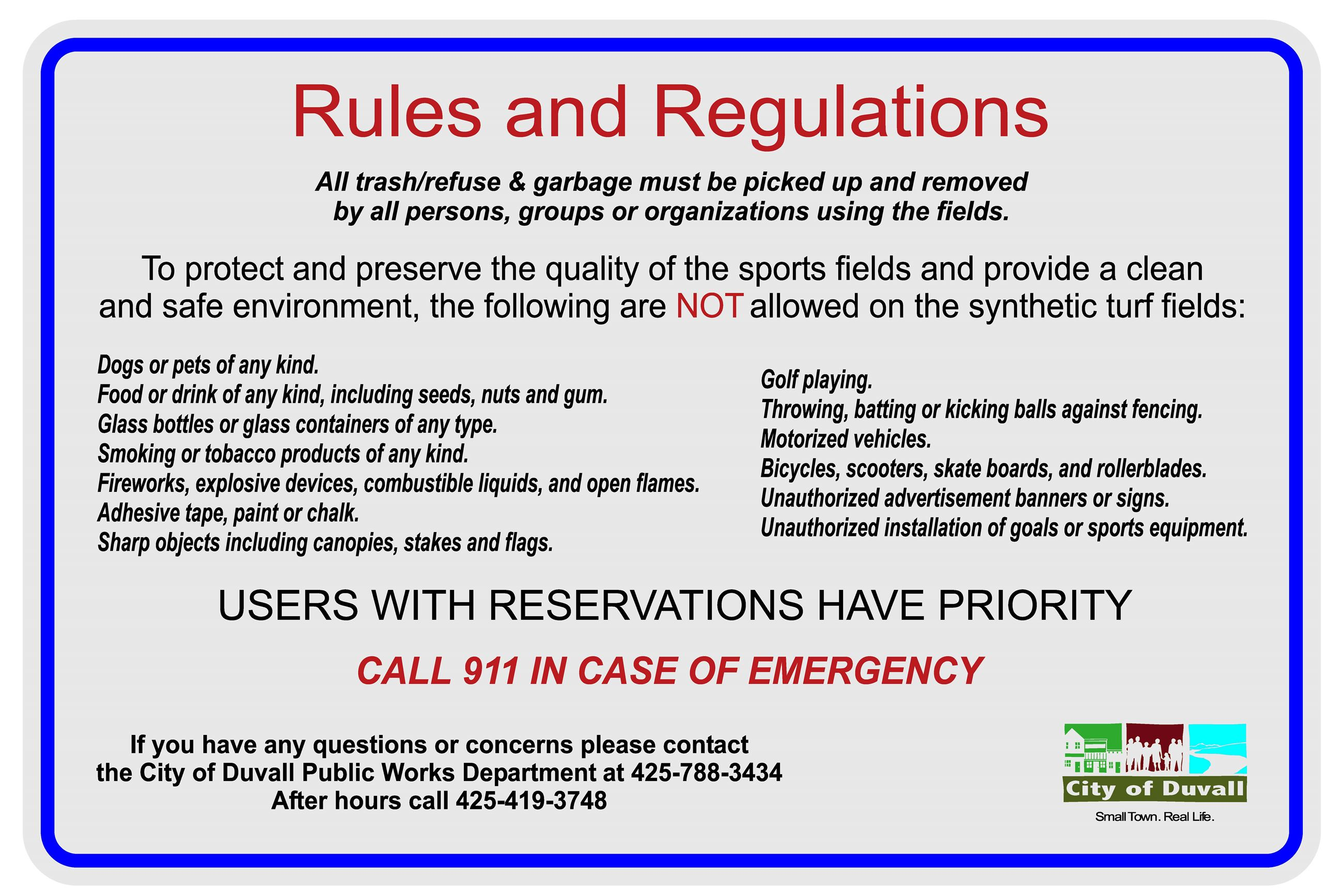 Big Rock Ballfields Rules and Regulations